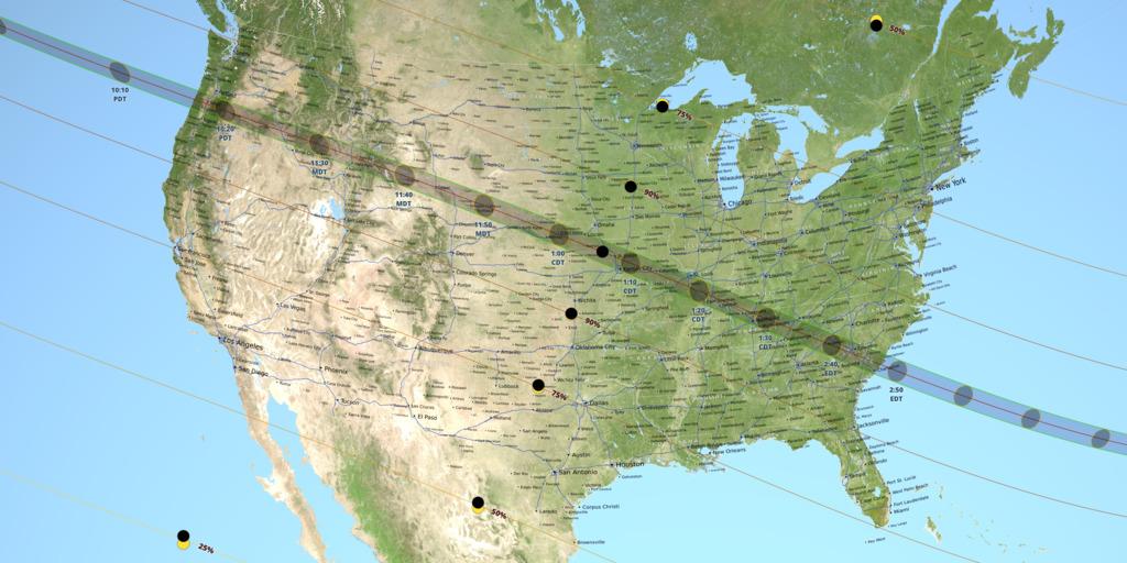 Eclipse de soleil du 21 août 2017 : le trajet de l'éclipse